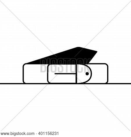 Belt Outline Icon. Vector Linear Icon Of A Leather Belt. Black And White Simple Illustration Of A Ro