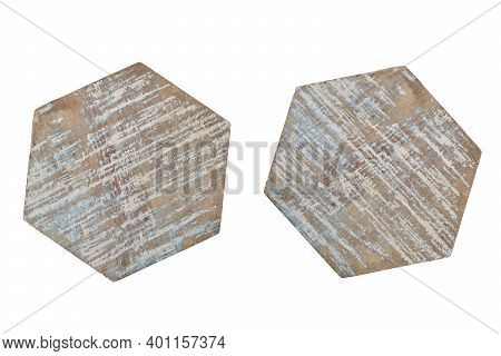 Wood Coasters Isolated On White Background With Clipping Path, Coasters Use To Protect The Surface O