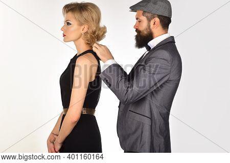 Couple Dressing Up. Stylish Couple. Old Fashion. Couple In Evening Clothes. Elegant Couple In Fashio