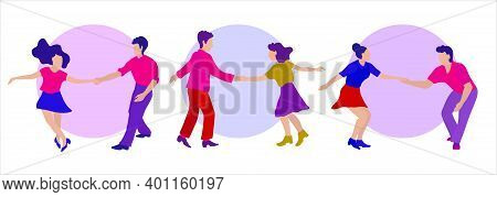 A Group Of Young People Dancing Swing, Lindy Or Rock And Roll. Round Phot And Space For The Text. Ve
