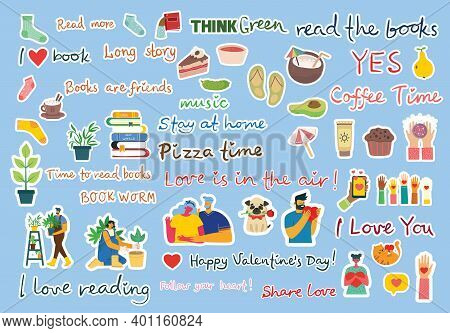 Sign Stickers And Symbols For Organized Your Diary. Template For Scrapbooking, Wrapping, Wedding Inv