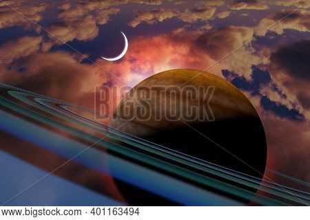 Saturn Planet With Rings And Crescent Moon Alien Planet 3d Illustration
