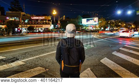 San Francisco, California, Usa - August 2019: Tourist Looking At Castro Neighbourhood With Long Expo