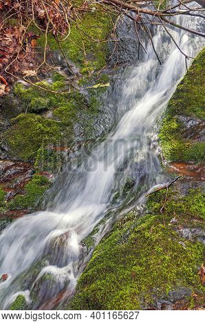 Tiny Cascade In A Verdant Forest In The Geat Smoky Mountains In North Carolina