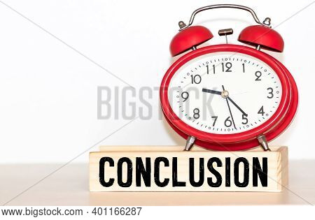 Word Conclusion Made With Wood Building Blocks,stock Image.