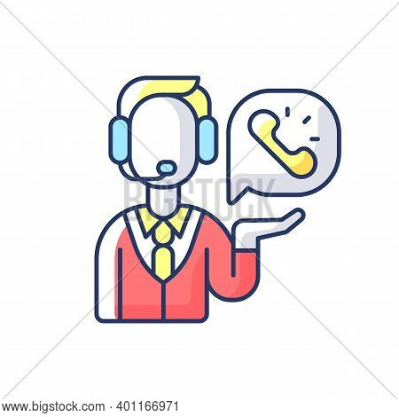 Telemarketing Rgb Color Icon. Method Of Direct Marketing In Which Salesperson Proposes Customers To