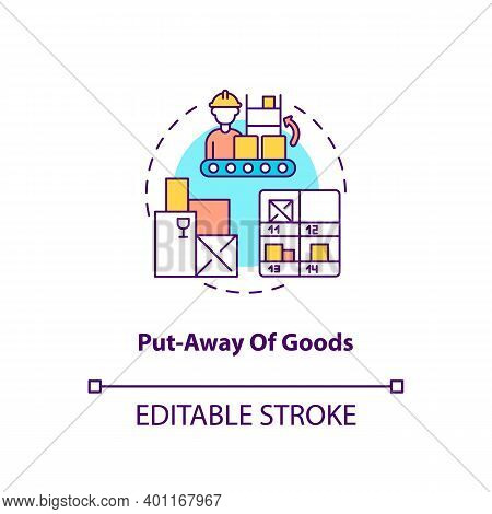 Put Away Of Goods Concept Icon. Warehouse Management Components. Stored Away On Shelves In Warehouse