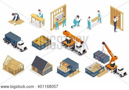 Modular Frame Building Isometric Composition With Isolated Icons Of Trucks And Images Of Buildings U