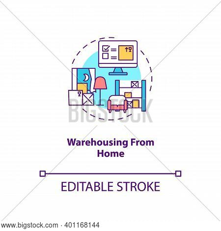 Warehousing From Home Concept Icon. Ecommerce Warehouse Solutions. Storing Products In Own House. Bu