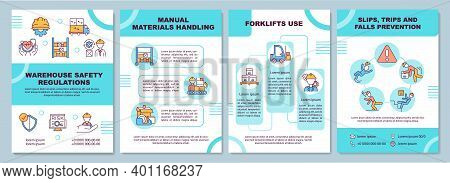 Warehouse Regulation Brochure Template. Slips, Trips, Falls Precaution. Flyer, Booklet, Leaflet Prin