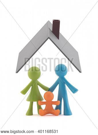 Colorful family figurines covered by house roof on white background