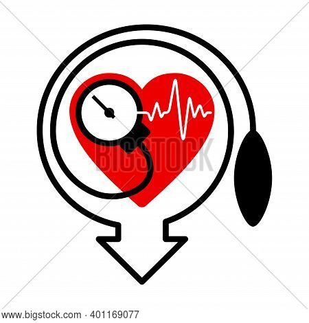 Lowering Blood Pressure Emblem With Heartshape And Measuring Equipment, For Cardio Pills For Hyperte