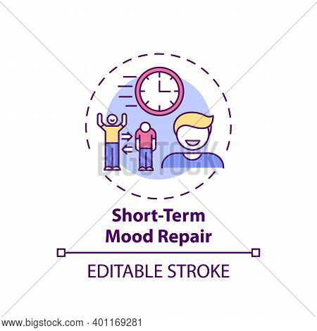 Short-term Mood Repair Concept Icon. Procrastination Reason Idea Thin Line Illustration. Emotion Reg