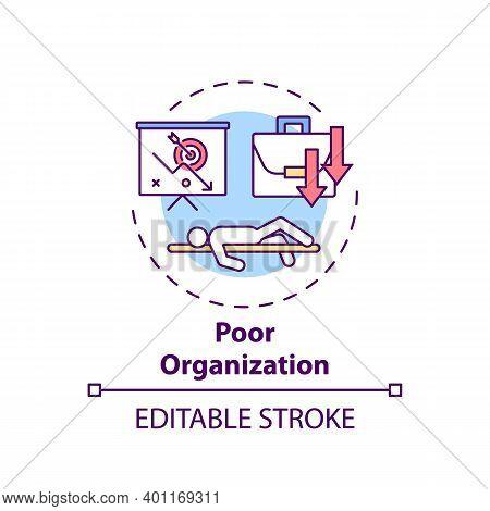 Poor Organization Concept Icon. Procrastination Reason Idea Thin Line Illustration. Motivation And D