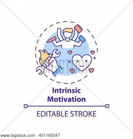 Intrinsic Motivation Concept Icon. Motivation Type Idea Thin Line Illustration. Doing Tasks Without
