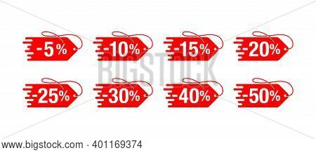 Sale Sticker Set In Price Tag Form With Rope And Different Percentage - 10, 20, 30, 40, 50, 60, 70 A