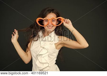 Im Glad Youre Weird Like Me. Valentines Girl Wear Heart Shaped Glasses. Happy Woman With Party Look.