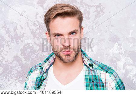 Beard Grooming. Hairdresser Salon. Barber Concept. Skin Care. Handsome Man Unshaven Face. Caucasian