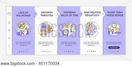 Delaying Tasks Habit Reasons Onboarding Vector Template. Willpower Lack. Ignoring Time Value. Respon