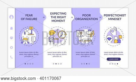 Delaying Tasks Habit Causes Onboarding Vector Template. Failure Fear. Expecting Right Moment. Respon