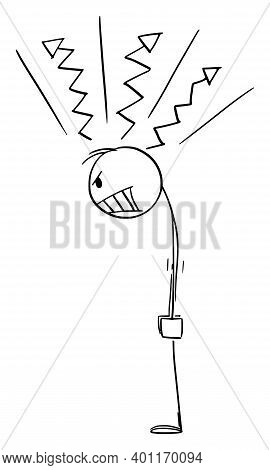 Cartoon Stick Figure Illustration Of Angry Raging Man Or Businessman Looking At Something.