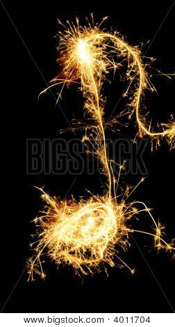 Sparklers Note Isolated On Black Background. Music Symbol
