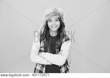 Eskimo Smiling Schoolgirl Long Hair Soft Hat Enjoy Softness. Winter Season Concept. Warm Hat For Col