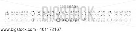 Icon Of Load. Countdown Of Loader. Symbols Of Preloaded Buffer. Circles Of Wait For App. Status Of P