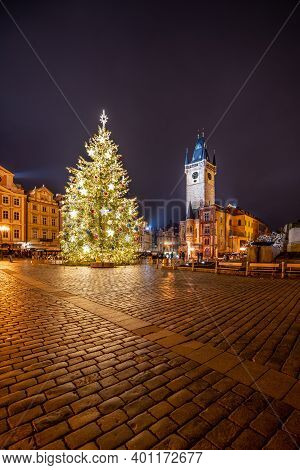 Prague, Czech Republic - December 21, 2020: Christmas Time In Prague. Decorated Christmas Tree And O
