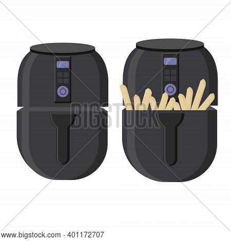 Convection Oven, Home Kitchen Equipment, Convection Oven, Closed And With Potatoes Vector Illustrati
