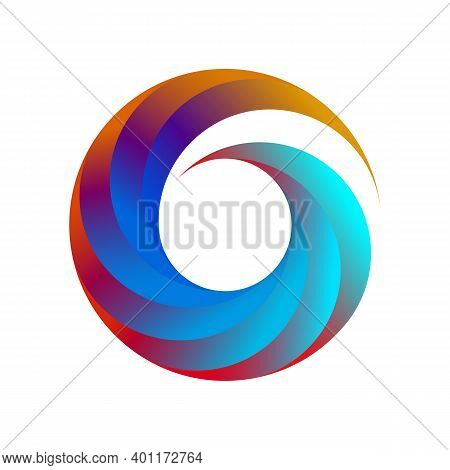 Abstract Circle Swirl Logo Design Elements. Spiral Symbol In Line Art Style. Rainbow Isolated Patter