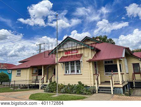 Esk, Australia - December 25, 2020: Facade Of The Historical Post Office, Originally Established In