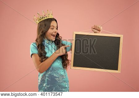 Prom Queen Hold School Board, Copy Space. Coronation Beauty Party. Pride And Glory. Cheerful Princes