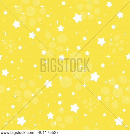 Seamless Pattern With White Starts And Sparks On Illuminating Yellow Color Background. Trending Colo