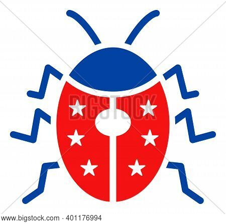 Ladybird Icon In Blue And Red Colors With Stars. Ladybird Illustration Style Uses American Official