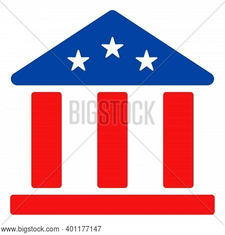 Bank Building Icon In Blue And Red Colors With Stars. Bank Building Illustration Style Uses American