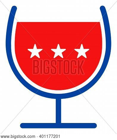 Wine Cup Icon In Blue And Red Colors With Stars. Wine Cup Illustration Style Uses American Official