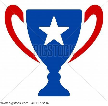 Award Cup Icon In Blue And Red Colors With Stars. Award Cup Illustration Style Uses American Officia