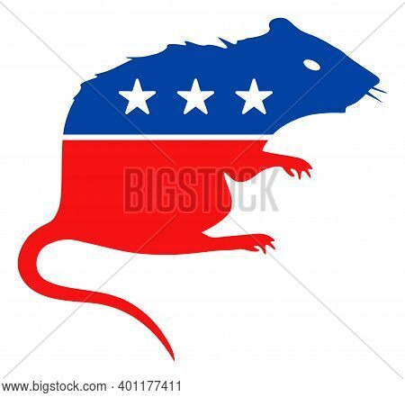Rat Icon In Blue And Red Colors With Stars. Rat Illustration Style Uses American Official Colors Of