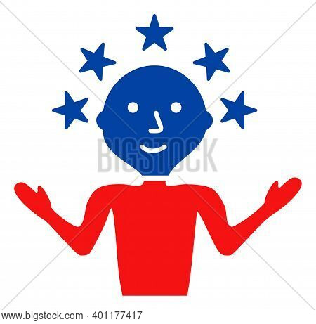 Happy Man Icon In Blue And Red Colors With Stars. Happy Man Illustration Style Uses American Officia