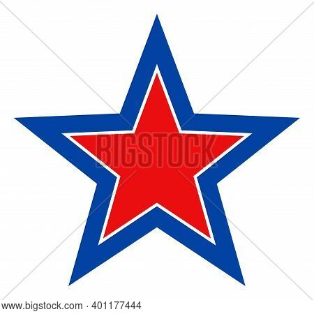 Inner Star Icon In Blue And Red Colors With Stars. Inner Star Illustration Style Uses American Offic