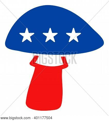 Mushroom Icon In Blue And Red Colors With Stars. Mushroom Illustration Style Uses American Official