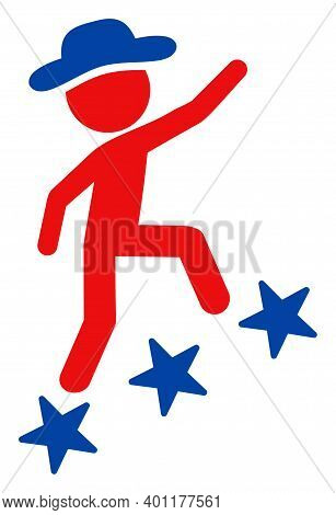 Climbing Gentleman Icon In Blue And Red Colors With Stars. Climbing Gentleman Illustration Style Use