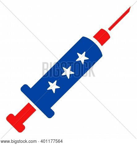 Vaccine Syringe Icon In Blue And Red Colors With Stars. Vaccine Syringe Illustration Style Uses Amer