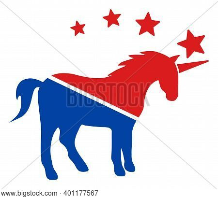 Unicorn Icon In Blue And Red Colors With Stars. Unicorn Illustration Style Uses American Official Co