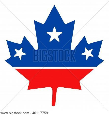 Maple Leaf Icon In Blue And Red Colors With Stars. Maple Leaf Illustration Style Uses American Offic