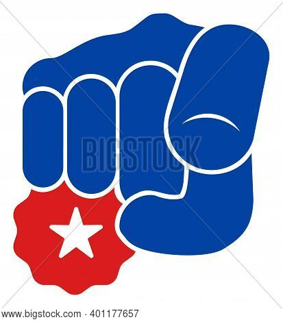 Hand Point You Icon In Blue And Red Colors With Stars. Hand Point You Illustration Style Uses Americ