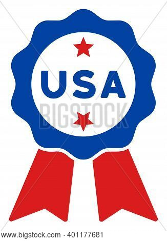Usa Stamp Seal Icon In Blue And Red Colors With Stars. Usa Stamp Seal Illustration Style Uses Americ