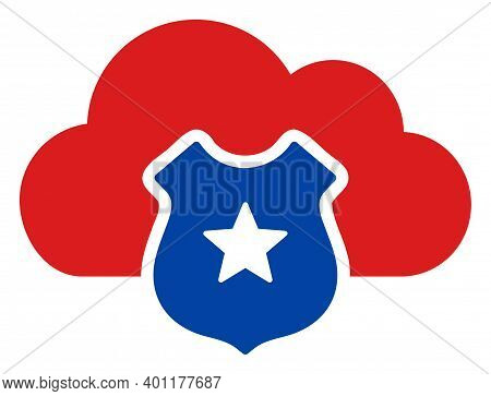 Cloud Shield Icon In Blue And Red Colors With Stars. Cloud Shield Illustration Style Uses American O