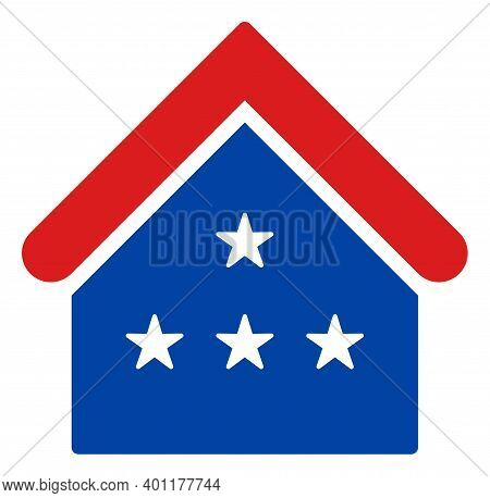 House Icon In Blue And Red Colors With Stars. House Illustration Style Uses American Official Colors